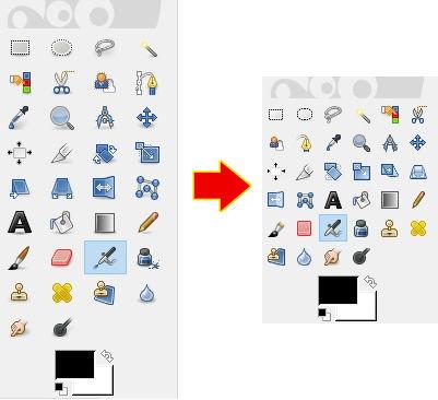 Memperkecil ikon toolbox di GIMP