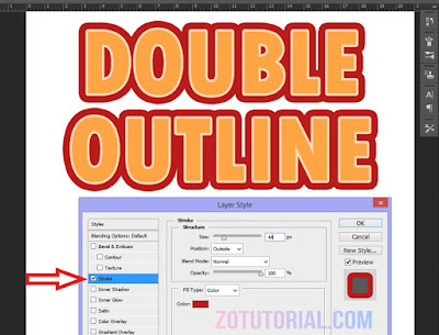 Tutorial Membuat Double Garis Outline di Photoshop (Garis Ganda) Tulisan - Double Stroke