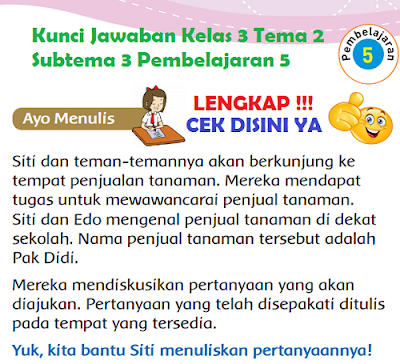 Kunci Jawaban Kelas 3 Tema 2 Subtema 3 Pembelajaran 5 www.simplenews.me