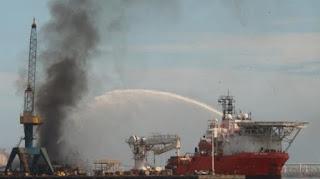 Incendio en Talleres Navales del Golfo en el Puerto Veracruz