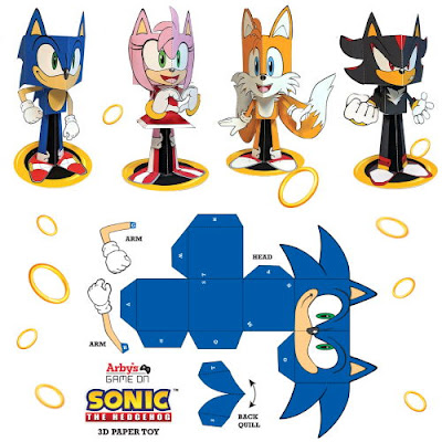 Sonic Tails Amy and Shadow 3D Papercraft