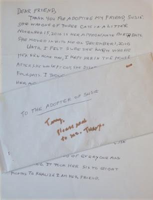 Carta que escribió la dueña de Susie para quien la adoptara