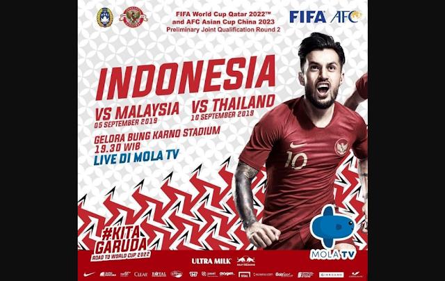 Mola TV Siarkan TImnas Indonesia di Kualifikasi Piala Dunia 2022