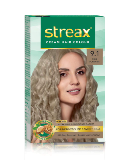 Streax Cream Hair Colour for Women & Men   Rich Platinum   Enriched with Walnut & Argan Oil   Instant Shine & Smoothness   Long Lasting Hair Colour   Soft & Silky Touch   120 ml