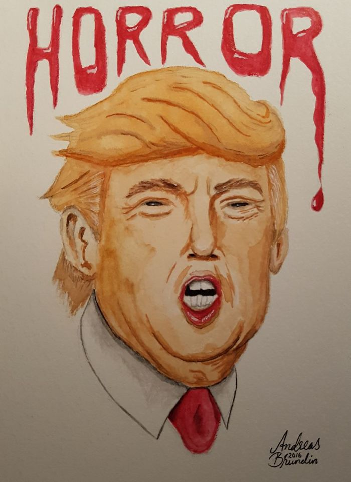 15+ Cartoonists Around The World Illustrate How They Feel About Trump Becoming President - Horror