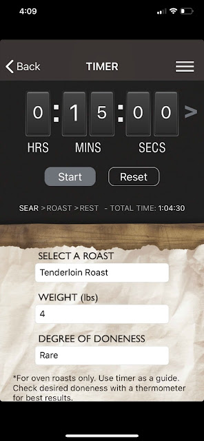 Roast Perfect app iPhone sear setting