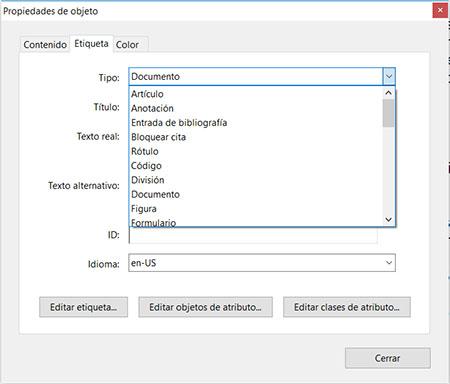 Ventana Propiedades de una Etiqueta de un PDF. El primer desplegable Tipo está abierto con diversas opciones: Artículo, Anotación, Entrada de bibliografía, etc.