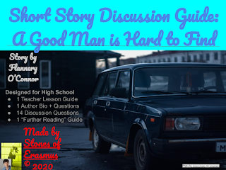 Advertisement for a TpT Short Discussion Guide: A Good Man is Hard to Find Made by Stones of Erasmus © 2020