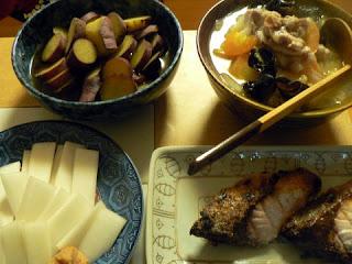 ぶり塩焼き 中華丼 ウド(味噌) さつま芋の甘煮