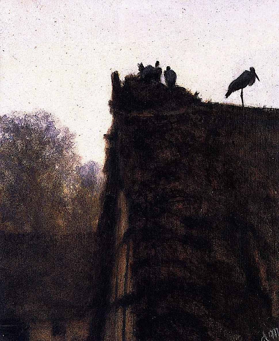 Adolf Menzel, a silhouette of storks nesting on a blocked house chimney