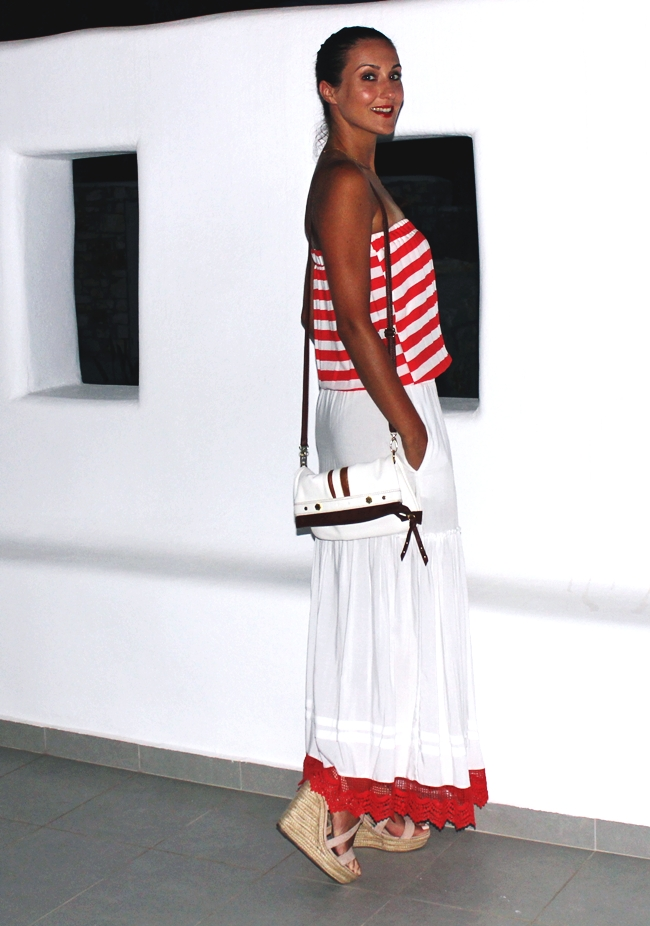 Red & White Striped dress.Beige suede platform wedges.