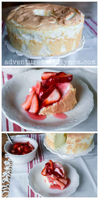 angel food cake topped with strawberry sauce