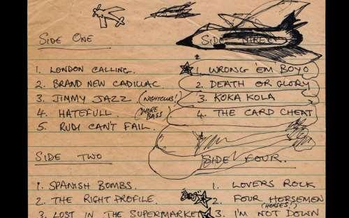 Χειρόγραφο tracklist του Mick Jones