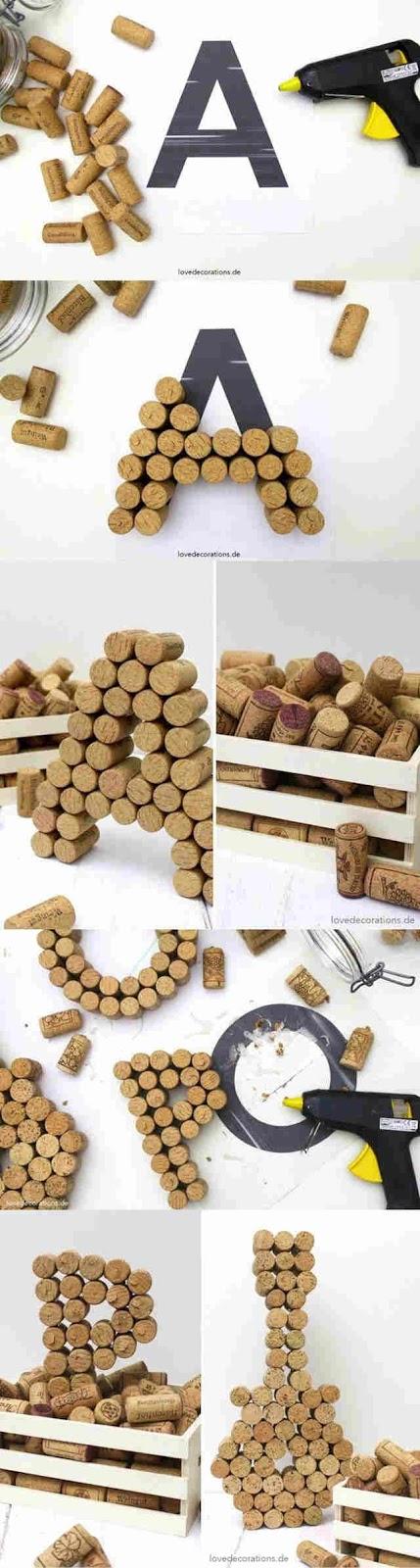 10 ideas sorprendentes para reciclar tapones de corcho, letras grandes