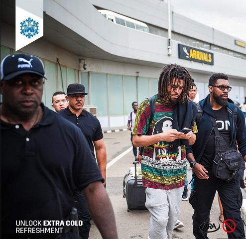 j cole arrives lagos, nigeria to perform at castle lite unlocks concert