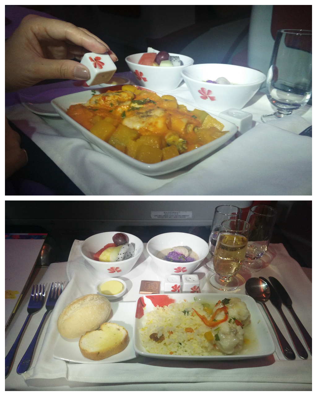黑老闆說︱香港航空A330-300商務艙回程的晚餐,翡翠夜明珠炒飯很好吃。