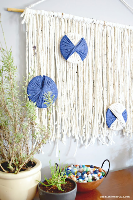 So easy DIY navy and neutral boho wall hanging