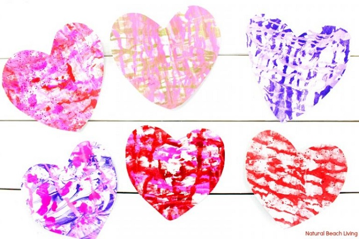 marbled hearts for valentines day using shaving foam