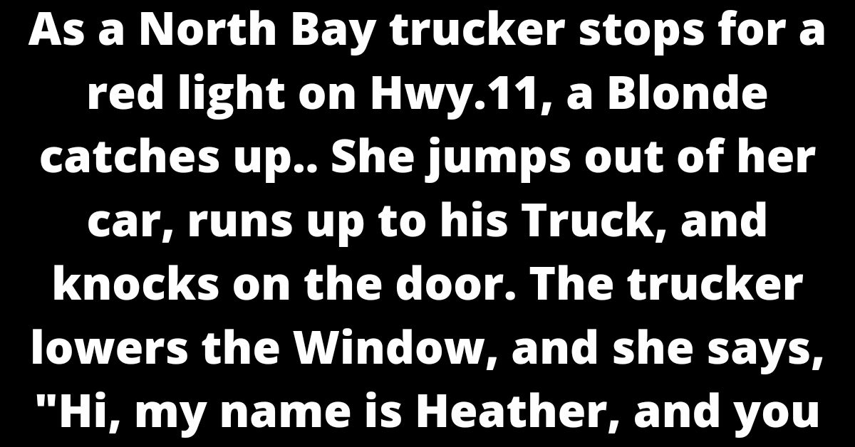 """As a North Bay trucker stops for a red light on Hwy.11, a Blonde catches up.. She jumps out of her car, runs up to his Truck, and knocks on the door. The trucker lowers the Window, and she says, """"Hi, my name is Heather, and you Are losing some of your load!"""