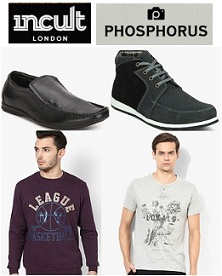 Flat 75% Off on Phosphorous & INCULT Men's Clothing & Footwear + Extra 10% Mobikwik Cashback @ Jabong