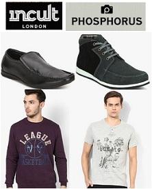 Flat 75% Off on Phosphorous & INCULT Men's Clothing & Footwear+ Extra 10% Mobikwik Cashback@ Jabong