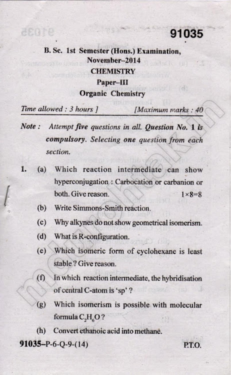 Download Organic Chemistry - November 2014 Question paper - bsc hons chemistry 1st sem paper 3 - for free