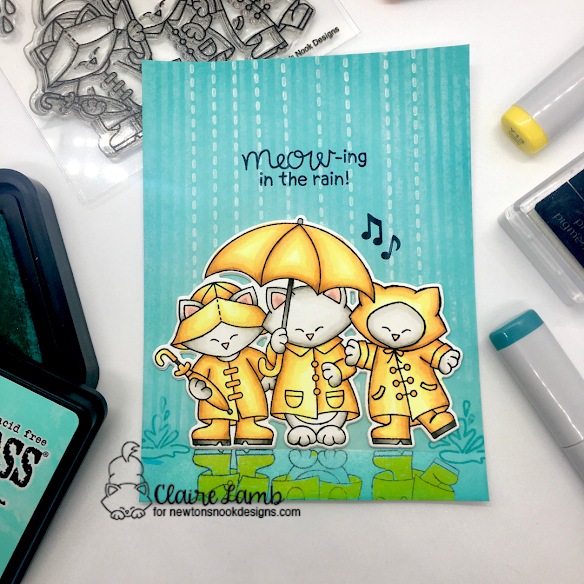 Meow-ing in the rain by Claire features Newton's Rainy Day Trio by Newton's Nook Designs; #inkypaws, #newtonsnook, #catcards, #cardmaking,