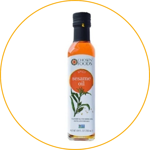 Chosen Foods Spicy Sesame Oil Chosen Foods Spicy Sesame Oil has a slightly spicy taste thanks to the addition of chili and garlic trees. Due to its unusual taste, this product is perfect for adding an Asian flavor to your dishes.  For those of you who are bored with the usual taste of sesame oil, this product can be a distraction. In addition, the raw materials used by sesame oil have also been certified non-GMO. That way, you don't have to worry about the quality!