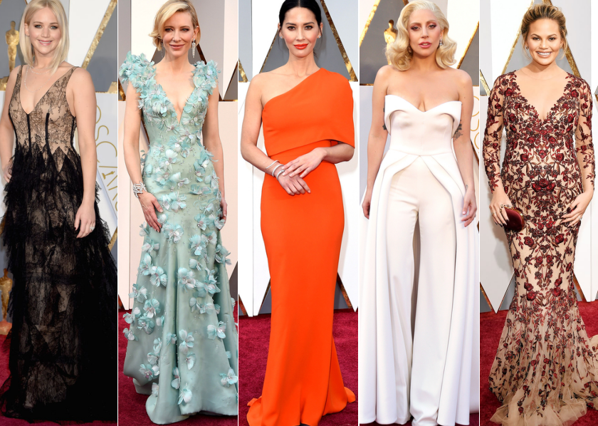 fashion, style, oscars 2016, best dressed, celebrities, red carpet, women, lady gaga, olivia munn, cate blanchett, chrissy teigen, jennifer lawrence, fbloggers