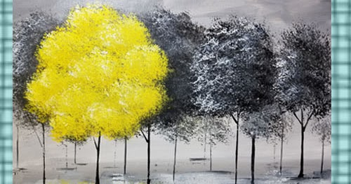 Angela anderson art blog pop of color black and white trees acrylic painting tutorial