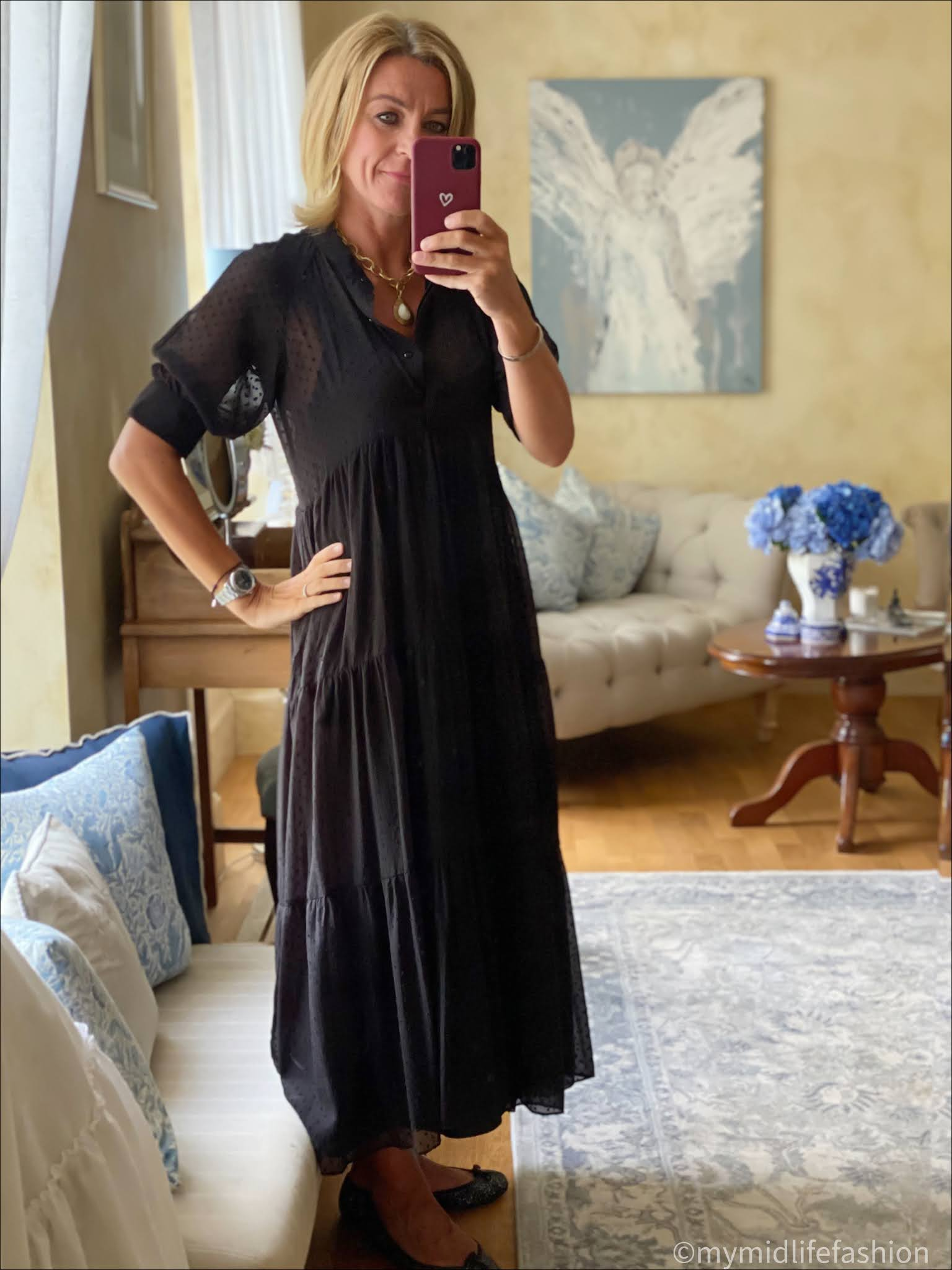 my midlife fashion, Zara dobby tiered short sleeve maxi dress, French sole India glitter ballet pumps