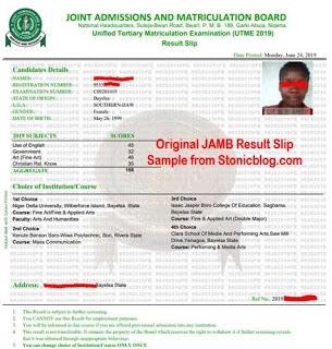 Printing of JAMB Original Result Slip