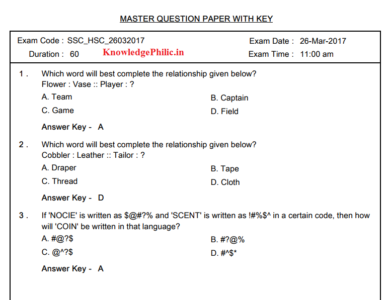 Ssc selection post question paper with answer key held on 2603 ssc selection post question paper with answer key held on 26032017 malvernweather Image collections