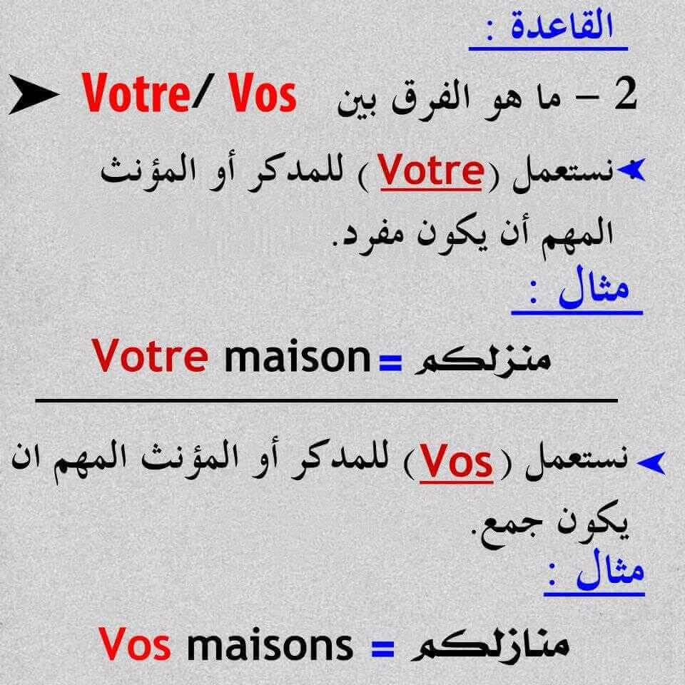 الفرق بين notre وnos وvotre وvos وleur وleurs