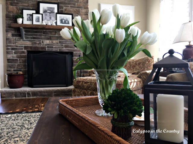 White Tulips on Rattan Tray