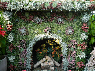 Closeup of Victorian parlour fireplace at Allan Gardens christmas flower show 2012 by garden muses: a toronto gardening blog