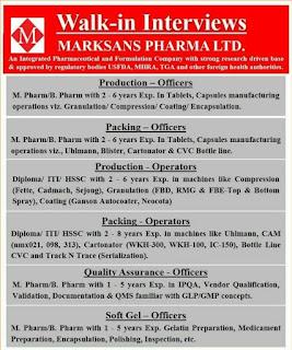 HSSC/ ITI/ Diploma/B. Pharm/ M. Pharm/ Candidates Job Vacancy Walk In Interview For  Marksans Pharma Ltd Goa