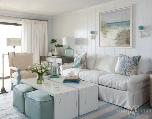 Breezy Condo Living Room in Beach Cottage Style  Shop the