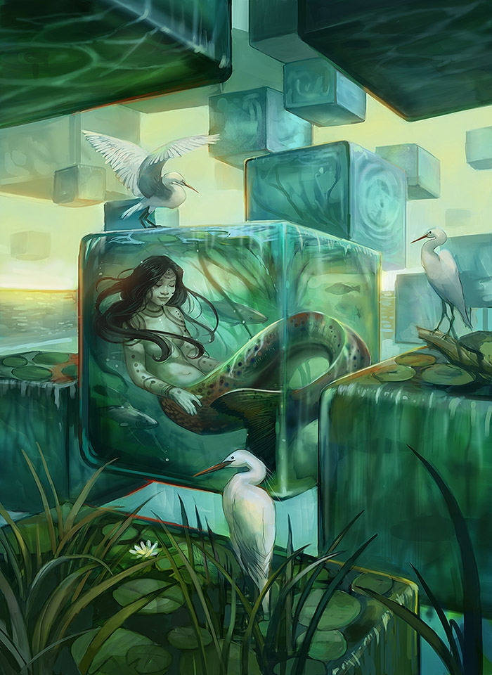 10-Slumbering-Naiad-Julie-Dillon-Fantasy-Worlds-Explored-with-Digital-Art-Drawings-www-designstack-co