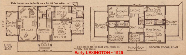 3-window Lexington floor plan 1925 Sears Modern Homes catalog