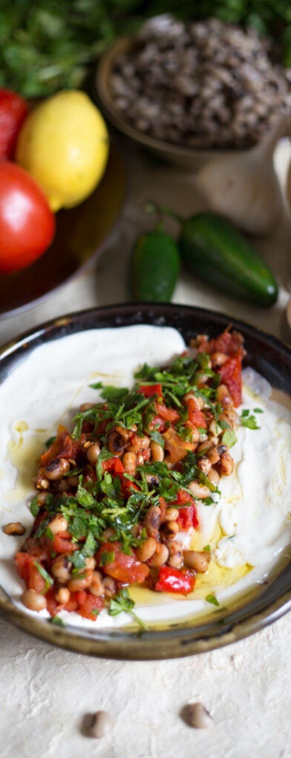 Black eyed pea masabacha with tahini, tomatoes, garlic and hot peppers