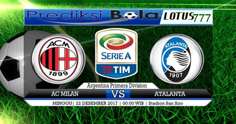 PREDIKSI  AC Milan vs Atalanta  24 DESEMBER 2017
