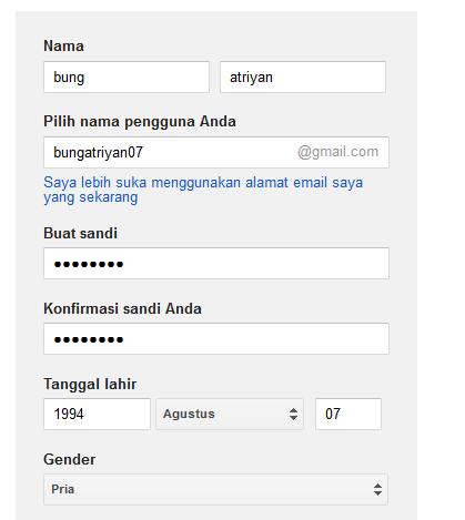 cara membuat email, isi nama