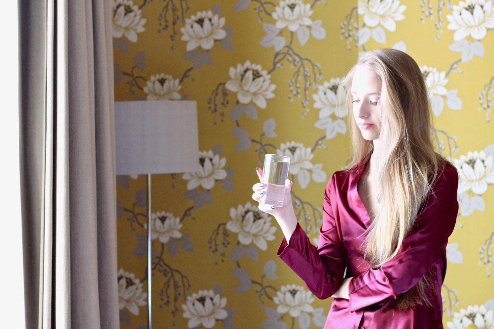 Wolf & Whistle satin plum pyjama set fashion blogger