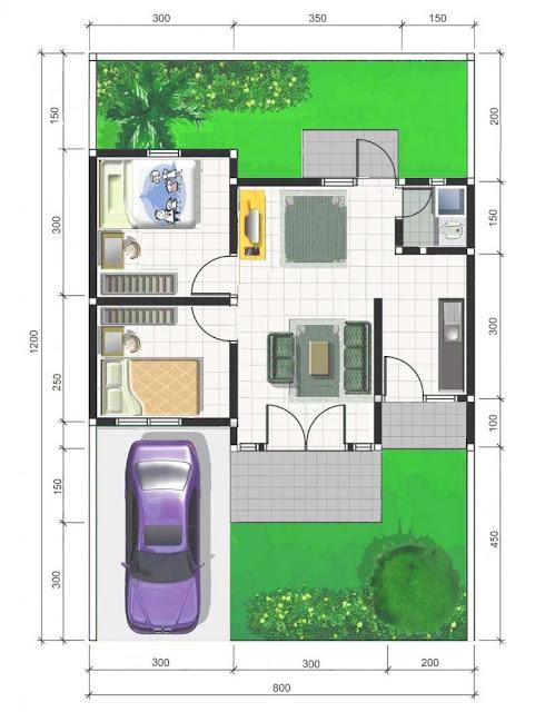 Denah rumah minimalis type 36 terbaru