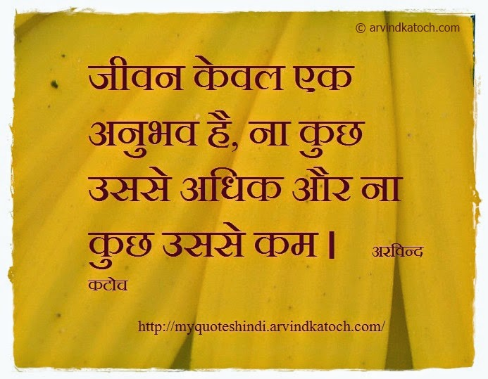 Life, experience, Hindi, Thought, Quote, Arvind Katoch