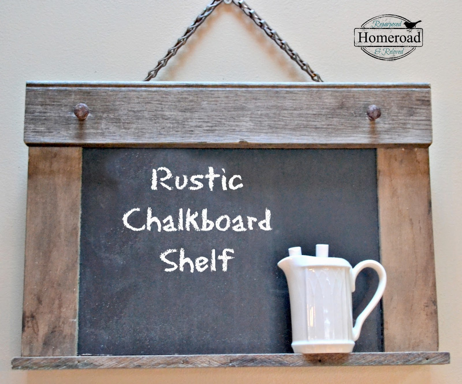 Rustic Chalkboard Shelf www.homeroad.net
