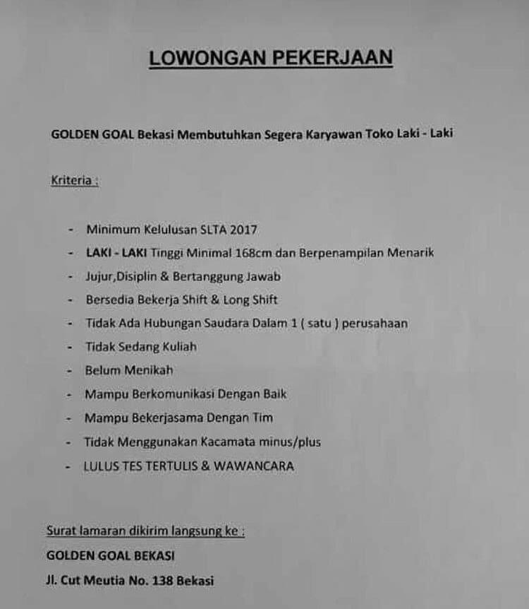 Lowongan Kerja Golden Goal Bekasi 2020 Jl Cut Meutia No 138