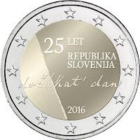 slovenia 2 euroa kolikko itsenäisyys 25 vuotta 2016