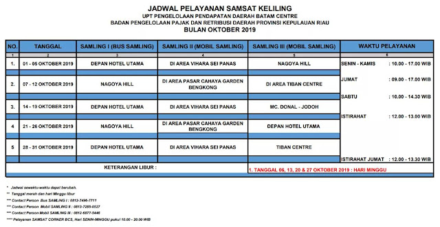 Jadwal dan Lokasi Samsat Keliling Batam Oktober 2019